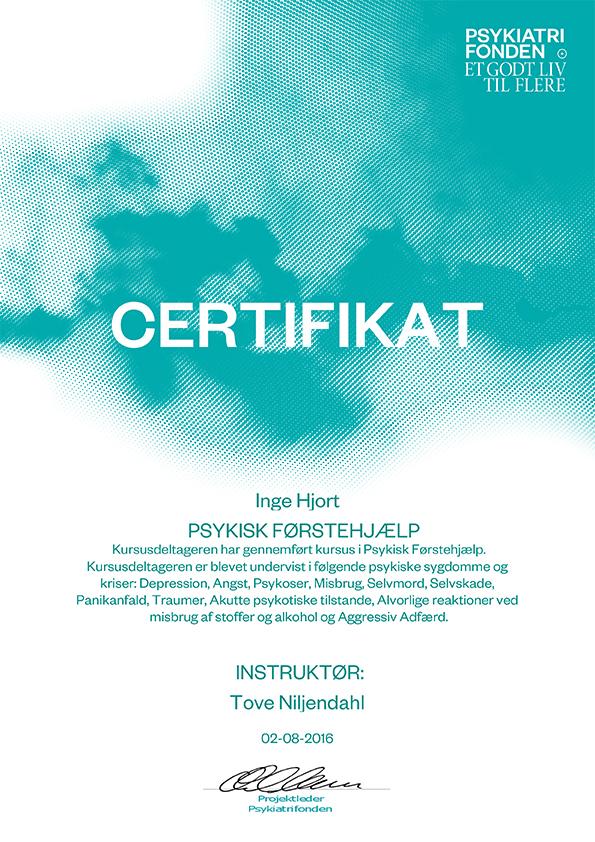 Certifikat Inge Hjort Psykisk førstehjælp